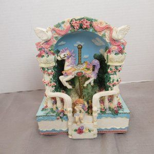 Vintage 1979 music box carousel Somewhere in Time